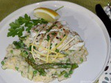 Grilled Halibut with Asparagus, Lemon and Spring Pea Risotto