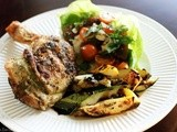 Grilled Pesto Rubbed Chicken, Caprese Salad and Summer Squash