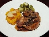 "Pork Chops ""Marsala"" Style with Butternut Squash, Sweet Potato and Sauteed Apple"