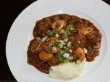 Shrimp and Andouille Sausage Etouffee with Cheesy Grits
