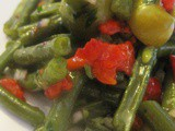 Moroccan Cold Green Beans (String Beans) Salad or Moroccan Flag Salad/ Salade d'Haricots Verts à la Marocaine ou Salde Drapeau Marocain