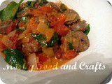 White Beans, Chorizo, Onions & Peppers in a Creamy Red Sauce