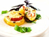 A Healthy Summer Appetizer with Polenta, Tomatoes, Ricotta and Basil