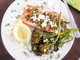 Baked Salmon with Lemon, Thyme, Capers and Feta Cheese