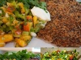 Black Bean and Quinoa Burgers with Peach Salsa