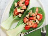 Caprese Salad with Shrimp and Bok Choy