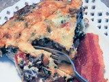 Crustless Quiche with Tomatoes, Mushrooms, Kale and Parmesan Cheese