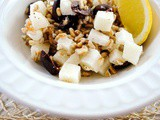 Farro and Jicama Salad with Lemon, Olives and Feta Cheese