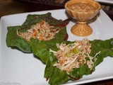 Lettuce Wraps with Chard, Shrimp, Brown Rice and a Chili Garlic Peanut Sauce