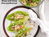 Lettuce Wraps with Shrimp, Snow Peas, Broccoli and Orange Ginger Dressing