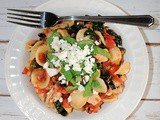 Mediterranean Orecchiette Pasta with Chicken, Kale, Basil and Feta Cheese