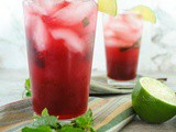 Pomegranate Gin Fizz with Lime and Mint