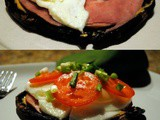 Portobello Mushroom and Fried Egg Sandwiches with Ham and Tomatoes