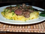 Recipe: Beef and Mushrooms in Rosemary Sauce Over Spaghetti Squash