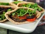 Roasted Eggplant Parmesan Pocket Sandwiches with Portobello Mushrooms