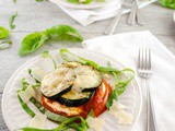 Roasted Zucchini and Tomato Stacks with Garlicky Ricotta, Parmesan and Basil