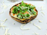 Slender Portobello Mushroom Pizza with Tomatoes and Basil