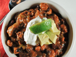 Slow Cooker Three Bean Chicken Chili for a Crowd
