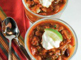 Slow Cooker Three Bean Veggie and Sweet Potato Chili