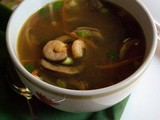 Spicy Asian Shrimp Soup with Mushrooms, Carrots and Bean Sprouts
