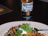 Spicy Corona Mexican Rice with Pork, Avocado, and Sour Cream