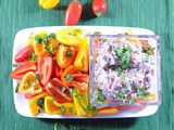 Spicy Mexican Bean Dip Appetizer with Baby Bell Peppers