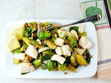 Tender Cod Filets with Sauteed Brussels Sprouts and Prosciutto