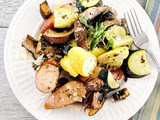 Turkey Kielbasa with Roasted Zucchini, Summer Squash and Portobello Mushrooms