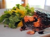 Wild Alaskan Salmon with Raspberry Chipotle Sauce and Mango Salad
