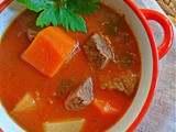 Beef Soup with carrots, potatoes and celery