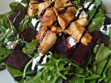 Beetroot salad with goat cheese and chicken