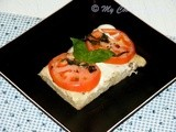 Foccacia Caprese (Focaccia Topped With Tomatoes, Mozzarella and Basil) - We Knead to Bake # 13