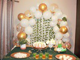 Easy diy Dessert Table – White, Gold and Green Theme