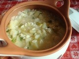 Italian leek and potato soup with rice