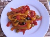 Sweet and sour peppers with capers and olives