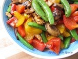 Stir Fried Green Pea & Bell Pepper With Miso Paste