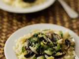 Orzo pasta salad with lemon mushrooms