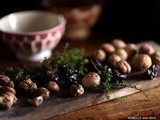 Autumn with chestnuts, walnuts and prunes