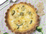 Healthy vegetarian quiche with goat cheese & broccoli