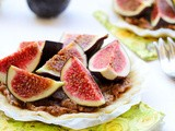 Raw rustic tart with caramel chocolate filling & figs