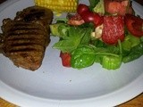 Bbq Steak With Buttery Corn and Christmas Salad