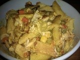 Easy curried chicken with pasta and vegetables