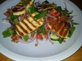 Halloumi with lentil salad