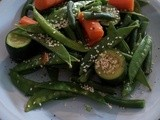 Steamed greens with sesame seeds