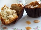 Banana, white chocolate and almond muffins