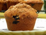 Eggless Blueberry Muffins with Crumb Topping