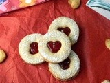 Eggless Linzer Cookies | Strawberry Filled Almond Cookies | Heart Cookies Recipe