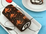 Ornamental Cake Roll | Chocolate Cake Roll with Whipped Cream Filling Recipe