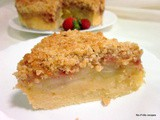 Strawberry, apple crumble cake