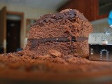 Old-fashioned chocolate cake with Galaxy dark chocolate icing